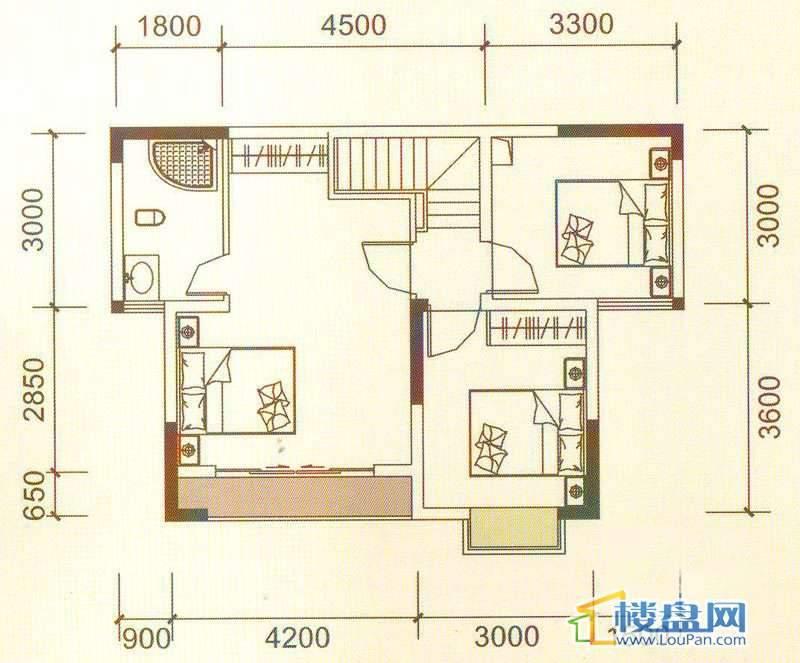远大生态风景3号楼(33层)K7下层户型4室2厅2卫1厨