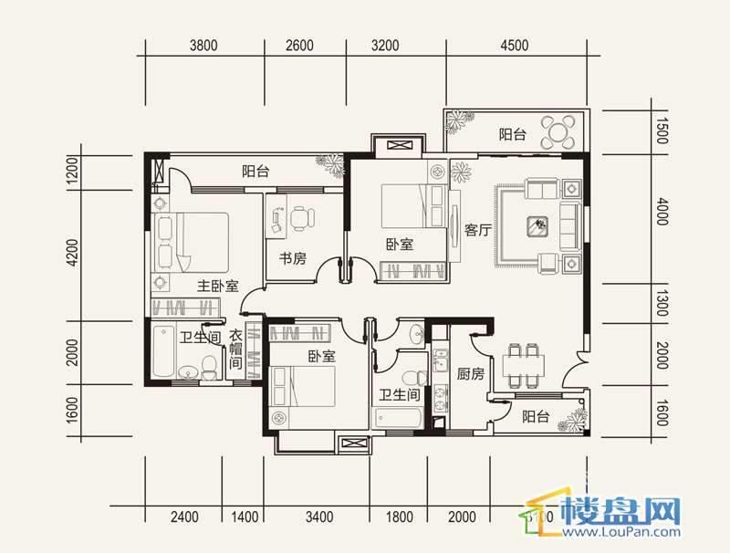 远大生态风景栖景湾G1户型4室2厅2卫1厨