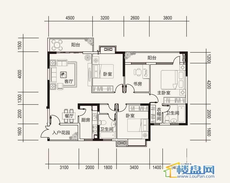 远大生态风景栖景湾G2户型4室2厅2卫1厨