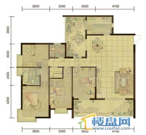 都市国际9/10号楼户型图4室2厅2卫1厨