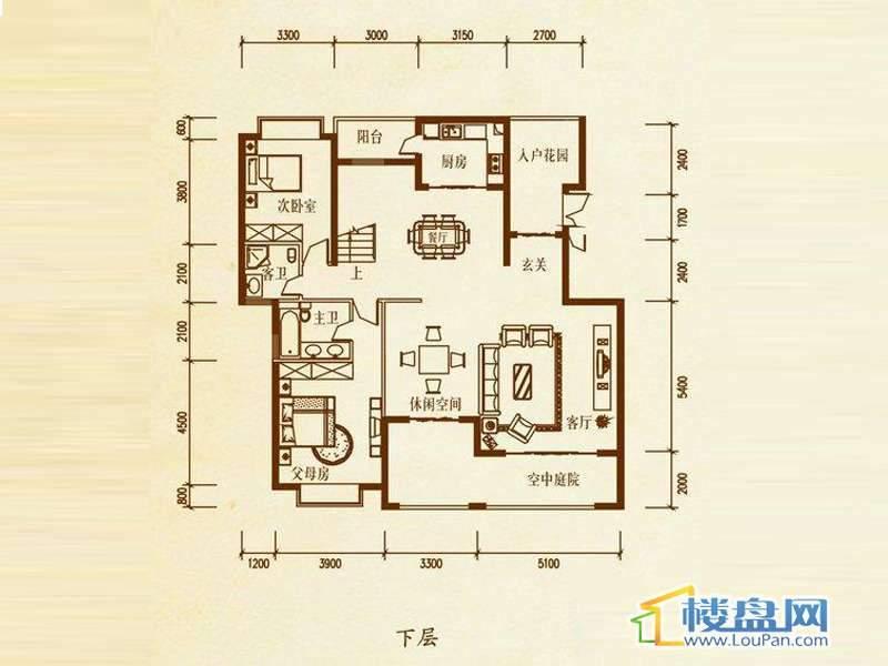 檀溪谷二栋B户型跃层下层5室4厅4卫1厨