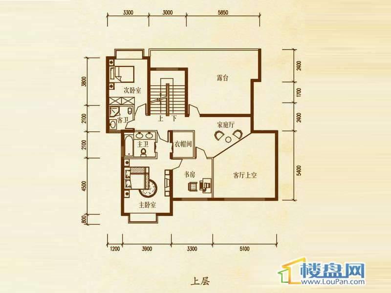 檀溪谷二栋B户型跃层上层5室4厅4卫1厨