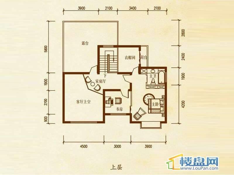 檀溪谷三栋A户型跃层上层4室4厅2卫1厨