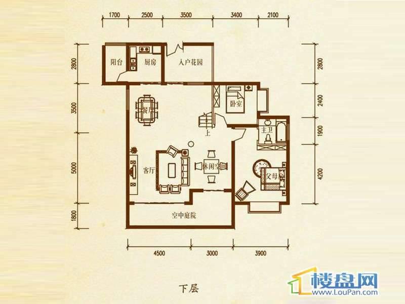 檀溪谷三栋A户型跃层下层4室4厅2卫1厨