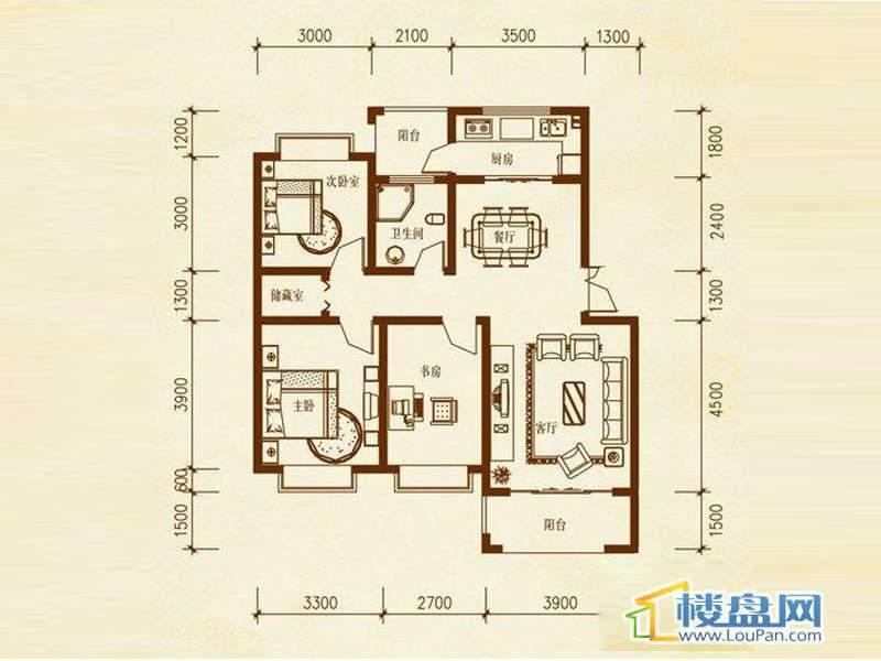 溪谷一、二栋A户型 3室2厅1卫1厨