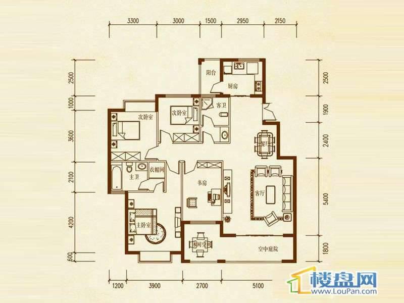 溪谷六栋A户型4室2厅2卫1厨