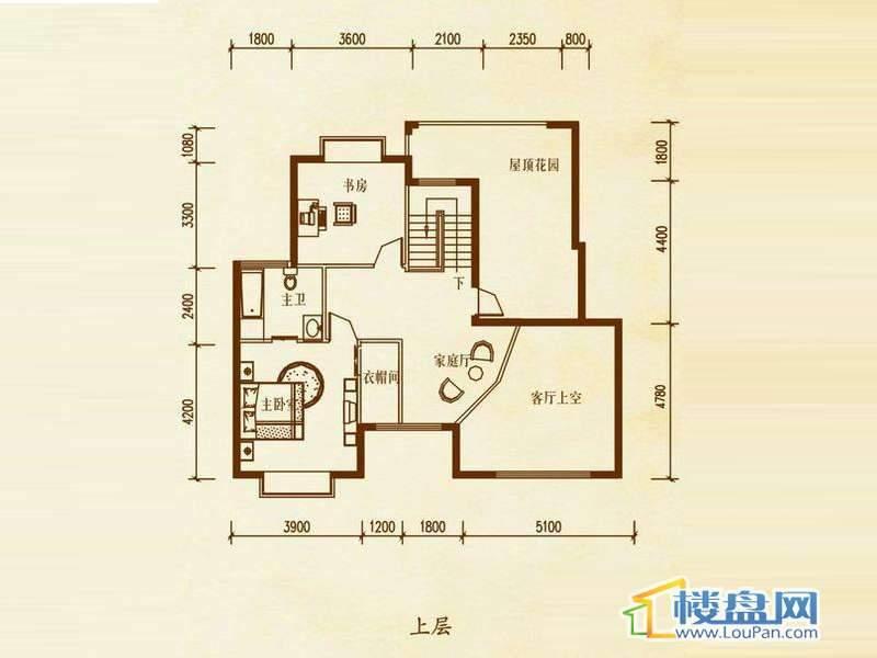 檀溪谷五栋A户型跃层上层4室4厅2卫1厨