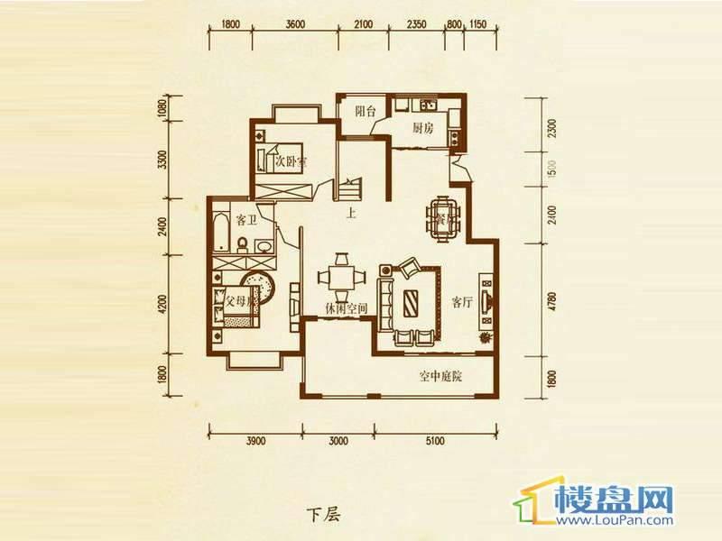 檀溪谷五栋A户型跃层下层4室4厅2卫1厨
