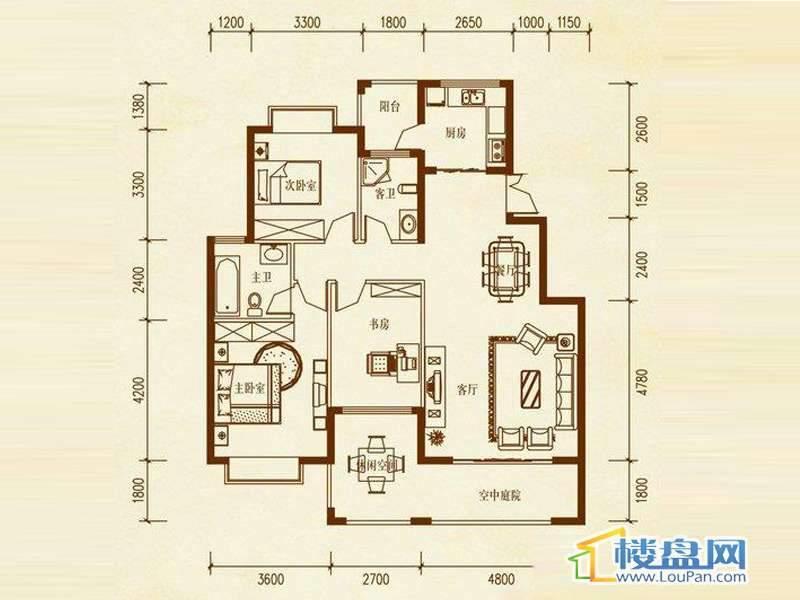 檀溪谷四栋A户型3室2厅2卫1厨