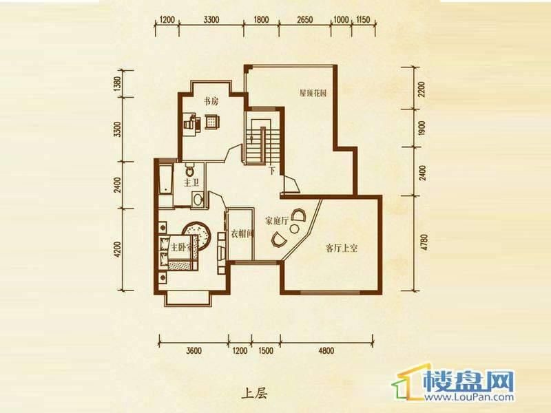 檀溪谷四栋A户型跃层上层4室4厅2卫1厨