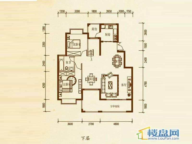 檀溪谷四栋A户型跃层下层4室4厅2卫1厨