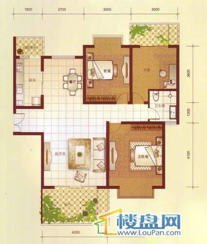 汤泉HOUSED2栋三单元11#房L户型3室2厅1卫1厨