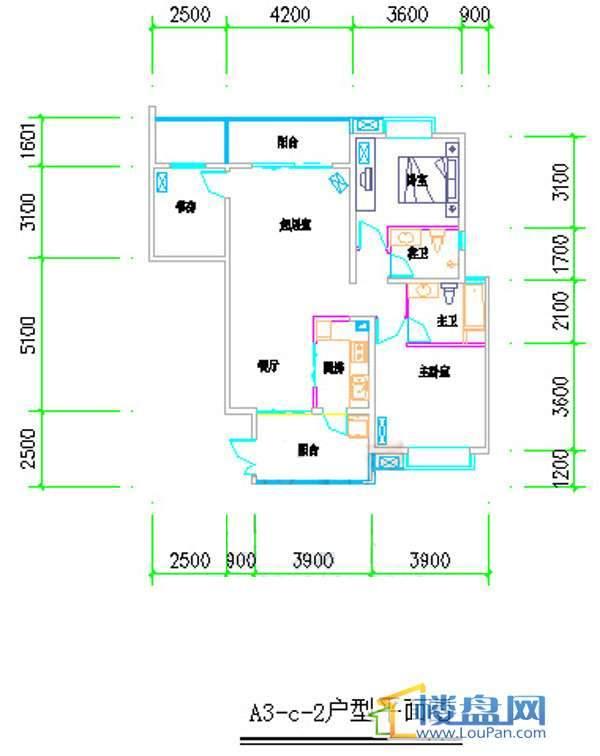 汤泉HOUSEA3-c-2户型平面2室2厅1卫1厨