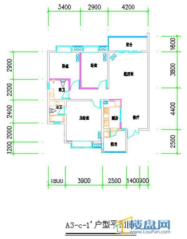 汤泉HOUSEA3-C-1户型平面3室