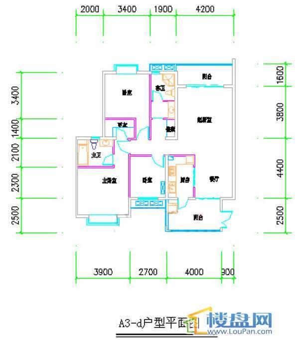 汤泉HOUSEA3-d户型平面图3室2厅2卫1厨