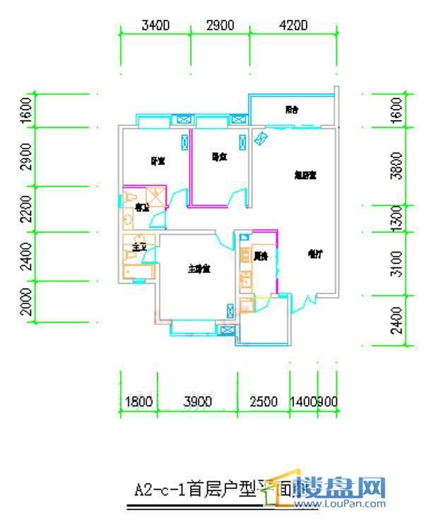 汤泉HOUSEA2-C-13室2厅2卫1厨