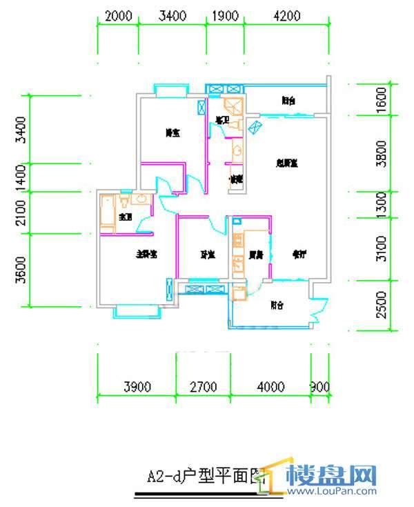 汤泉HOUSEA2-d户型平面图3室2厅2卫1厨