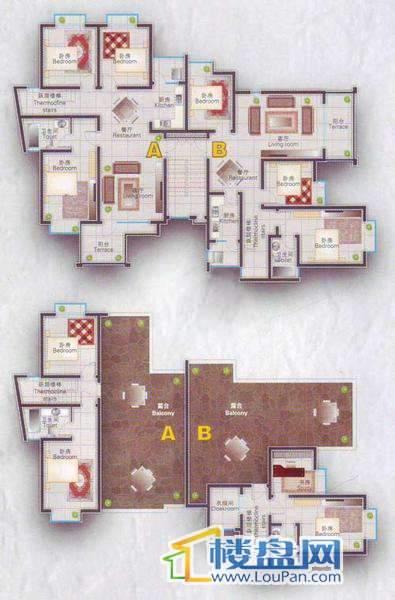 倾国倾城16栋三单元跃层5室2厅3卫1厨