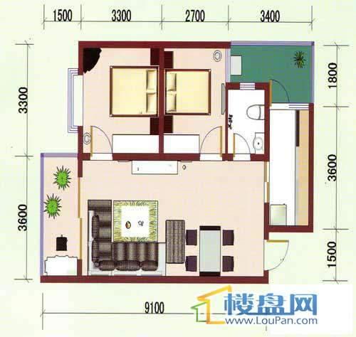 华龙绿韵丽都A区七号楼7、8号房户型2室2厅1卫1厨