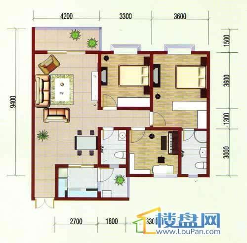 华龙绿韵丽都A区一号楼2、5号房户型3室2厅2卫1厨