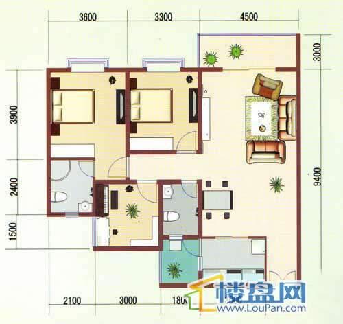 华龙绿韵丽都A区一号楼1、4号房户型3室2厅2卫1厨