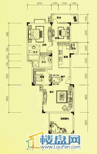 海韵峰景3户型3室2厅2卫1厨