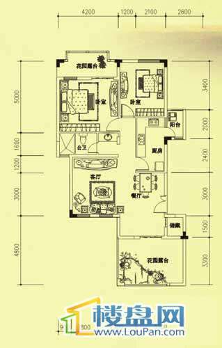 海韵峰景6户型2室2厅1卫1厨
