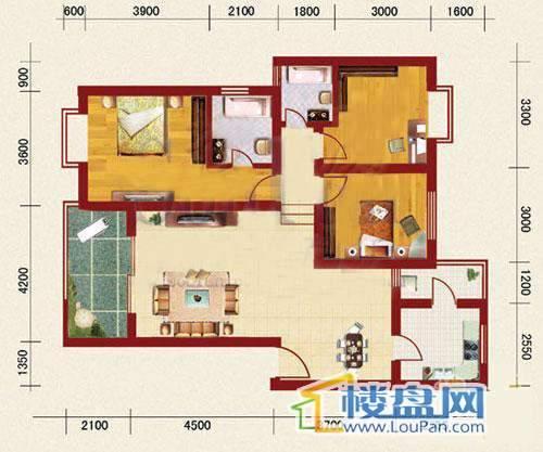 海韵峰景四号楼A户型3室2厅2卫1厨