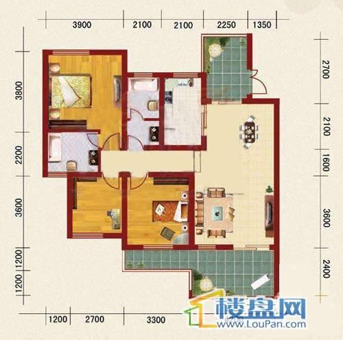 海韵峰景五号楼E户型3室2厅2卫1厨