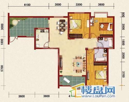 海韵峰景一号楼A户型3室2厅2卫1厨