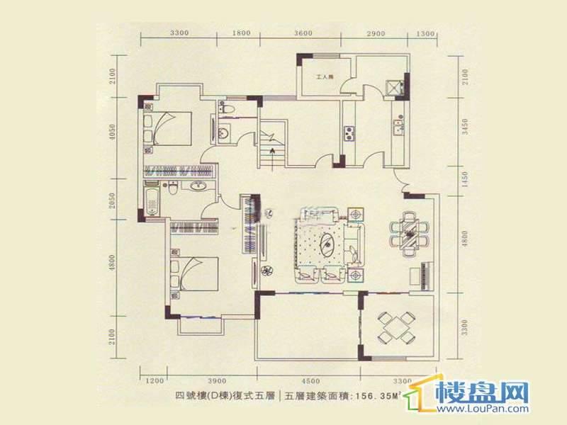 龙砚东山E户型4室2厅2卫1厨