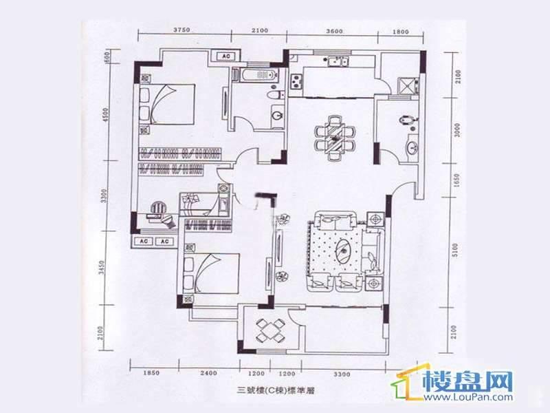 龙砚东山D户型3室2厅1卫1厨