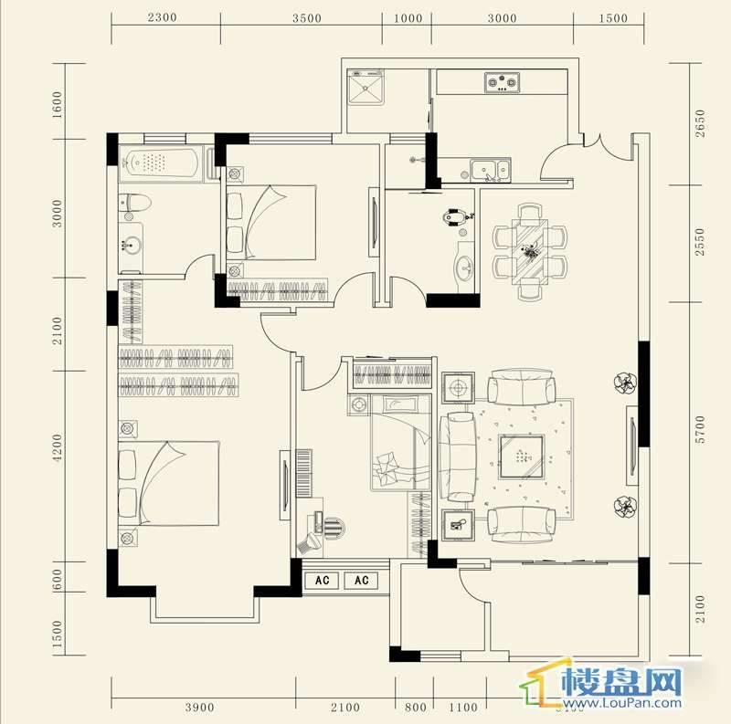 龙砚东山A户型3室2厅2卫1厨