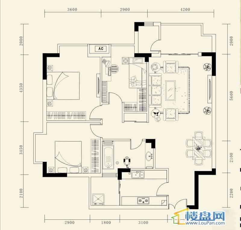 龙砚东山B户型3室2厅1卫1厨