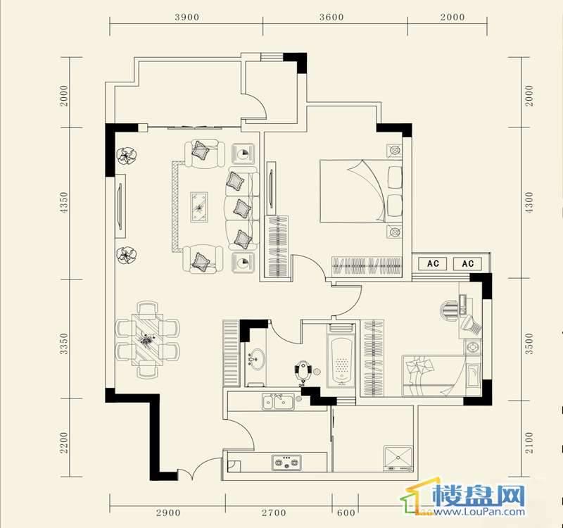 龙砚东山C户型2室2厅1卫1厨