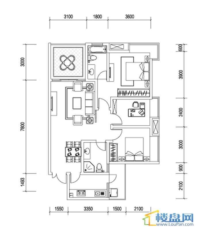 星辰国际H户型3室2厅2卫1厨