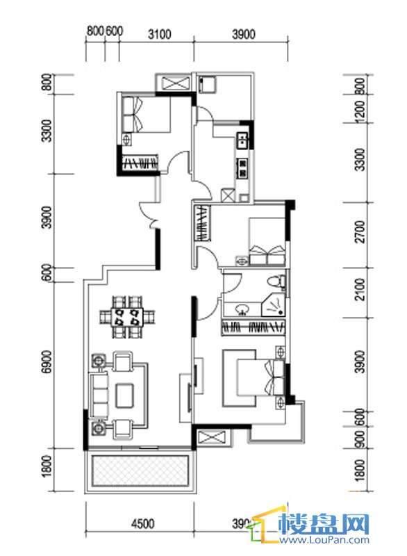 星辰国际K户型3室2厅2卫1厨