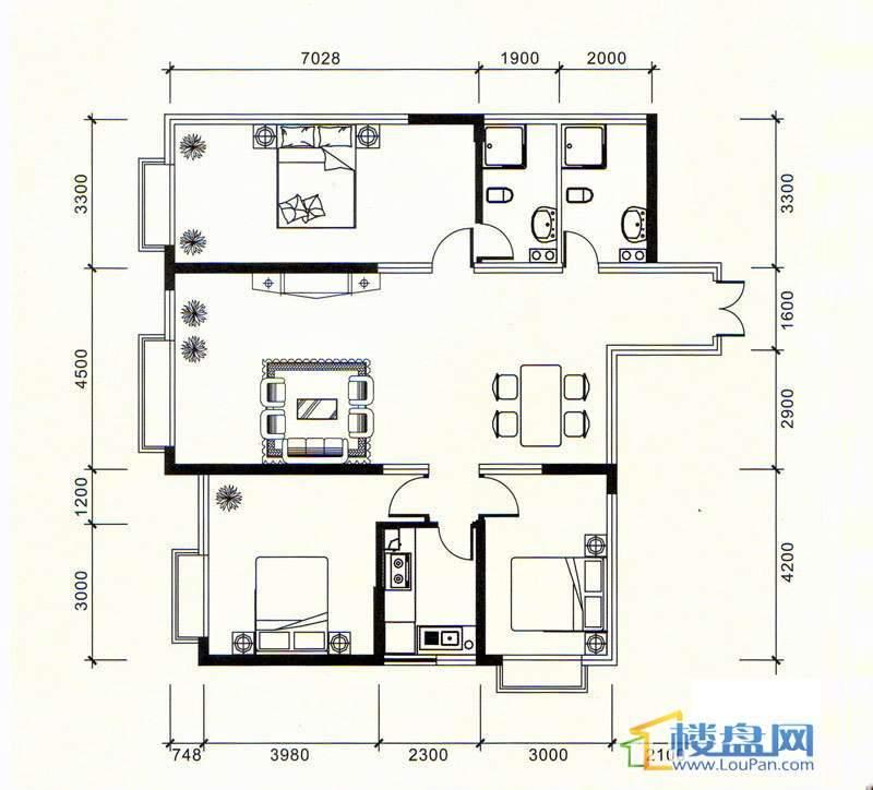 祥源大厦A-4号3室2厅2卫1厨
