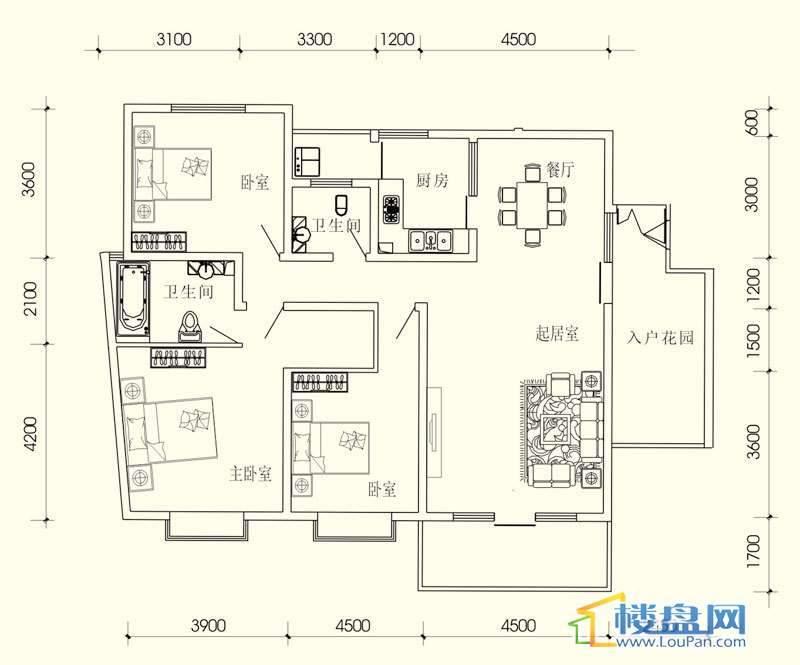 小城故事D组团B户型3室2厅2卫1厨
