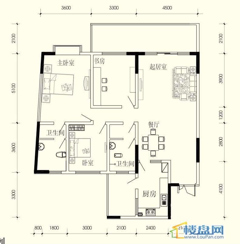 小城故事C组团B户型3室2厅2卫1厨