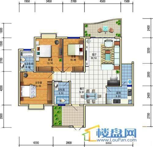 方源广场A1-6-5户型3室2厅2卫1厨