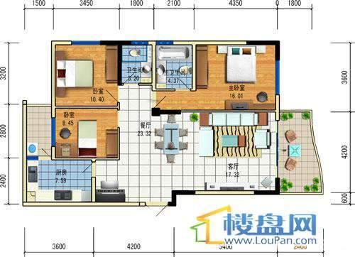 方源广场A2-6-2户型3室2厅2卫1厨