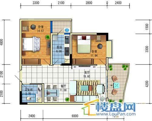 方源广场A2-6-3户型2室2厅1卫1厨