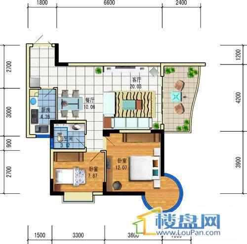 方源广场A2-6-4户型2室2厅1卫1厨
