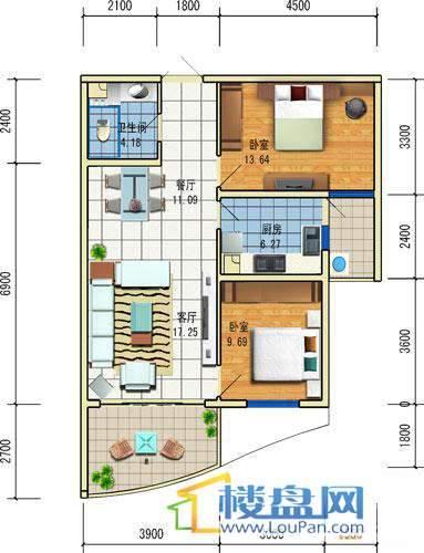 方源广场A2-6-5户型2室2厅1卫1厨