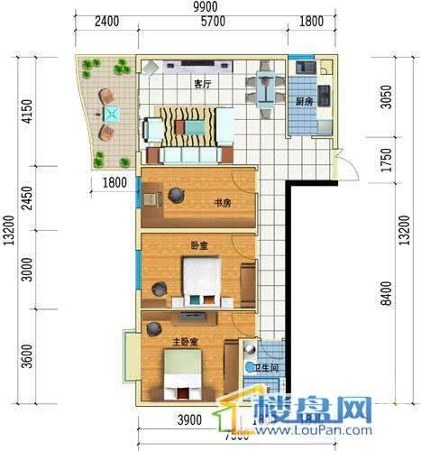 方源广场B1-6-1户型3室1厅1卫1厨