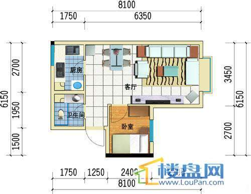 方源广场B1-6-2户型1室1厅1卫1厨