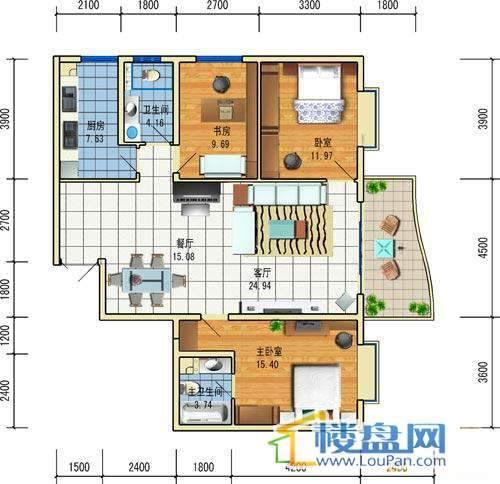方源广场B1-6-3户型3室2厅2卫1厨92.61㎡