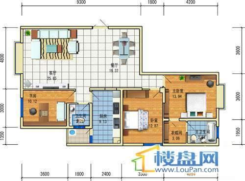 方源广场B1-6-4户型3室2厅2卫1厨