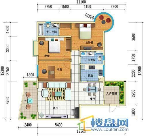 方源广场B2-6-1户型3室2厅2卫1厨